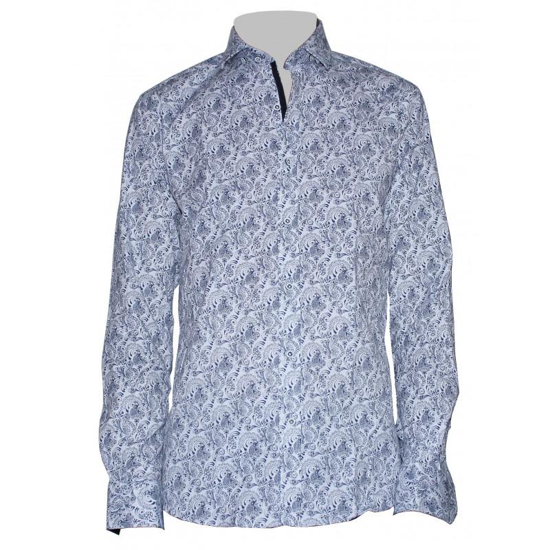 Vzorovaná košeľa biela s modrým vzorom paisley EgoMan