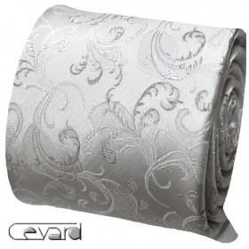 Striebornosivá kravata s vreckovkou s tkaným ornamentom