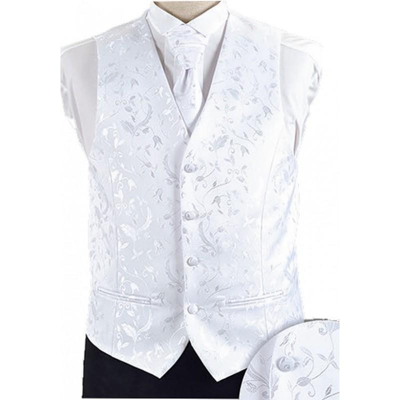 Svadobná vesta biela s kvetovým vzorom