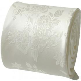Svadobná kravata ivory kvetový vzor s vreckovkou