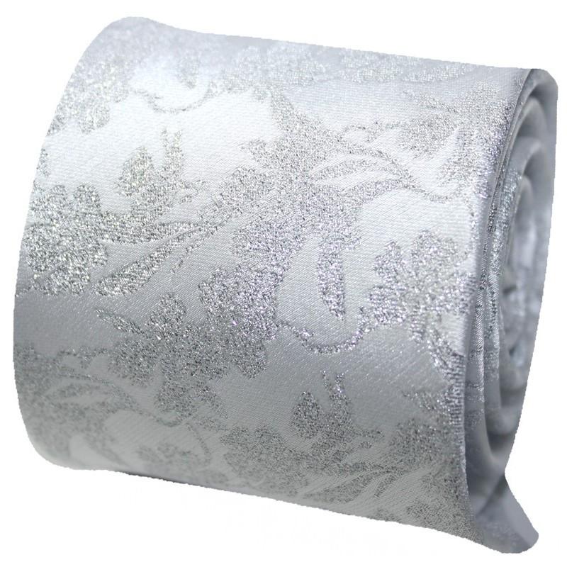 svadobná kravata biela strieborné kvety