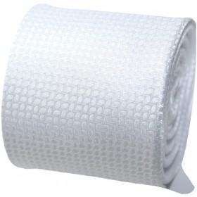 Svadobná kravata biela s drobným vzorom s vreckovkou
