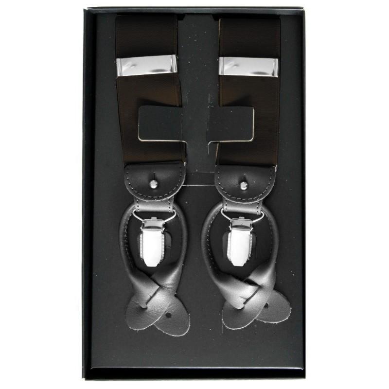 Traky na gombíky tmavohnedé LUX s čiernymi koženými prvkami
