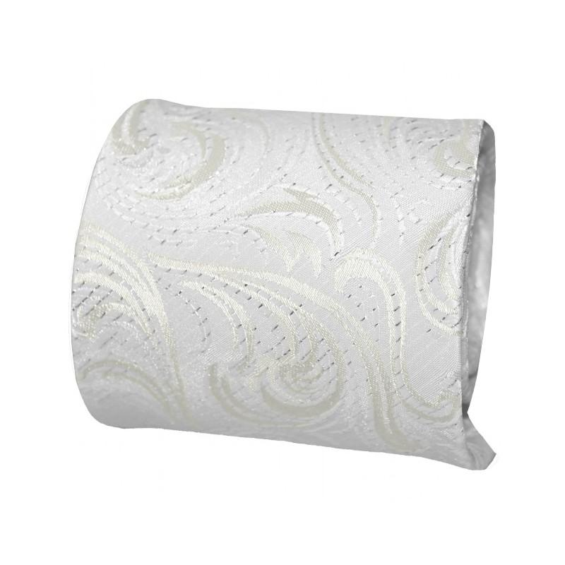 Exkluzívna svadobná kravata s vreckovkou biela so strieborným vzorom