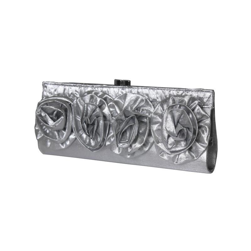 Spoločenská kabelka strieborná s aplikáciou kvetov