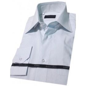 Košeľa biela s modrými prúžkami