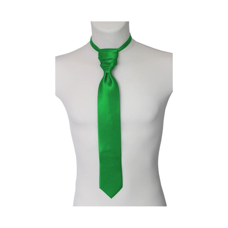 Francúzska kravata s vreckovkou zelená