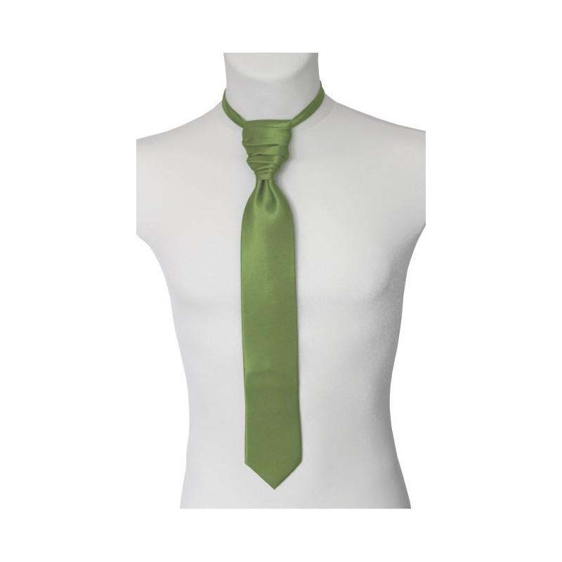 Francúzska kravata zlatozelená s vreckovkou