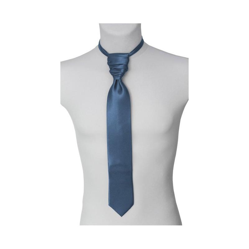 Francúzska kravata oceľovomodrá s vreckovkou