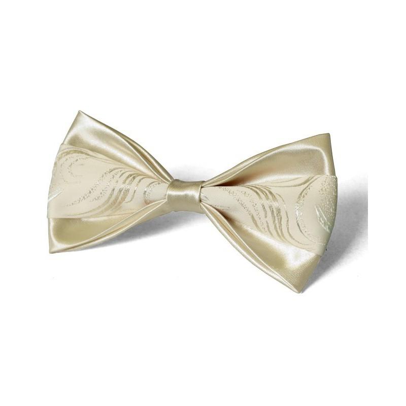 Motýlik svadobný smotanový s lesklým vzorom na krémovom podklade s vreckovkou