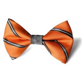 Detský motýlik oranžový s grafitovými prúžkami dizajn BWT