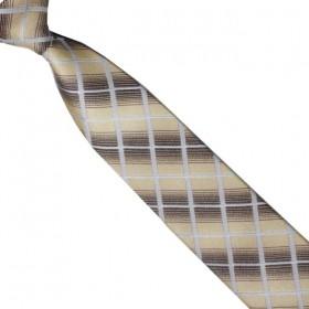 Detská kravata béžovo-hnedá károvaná