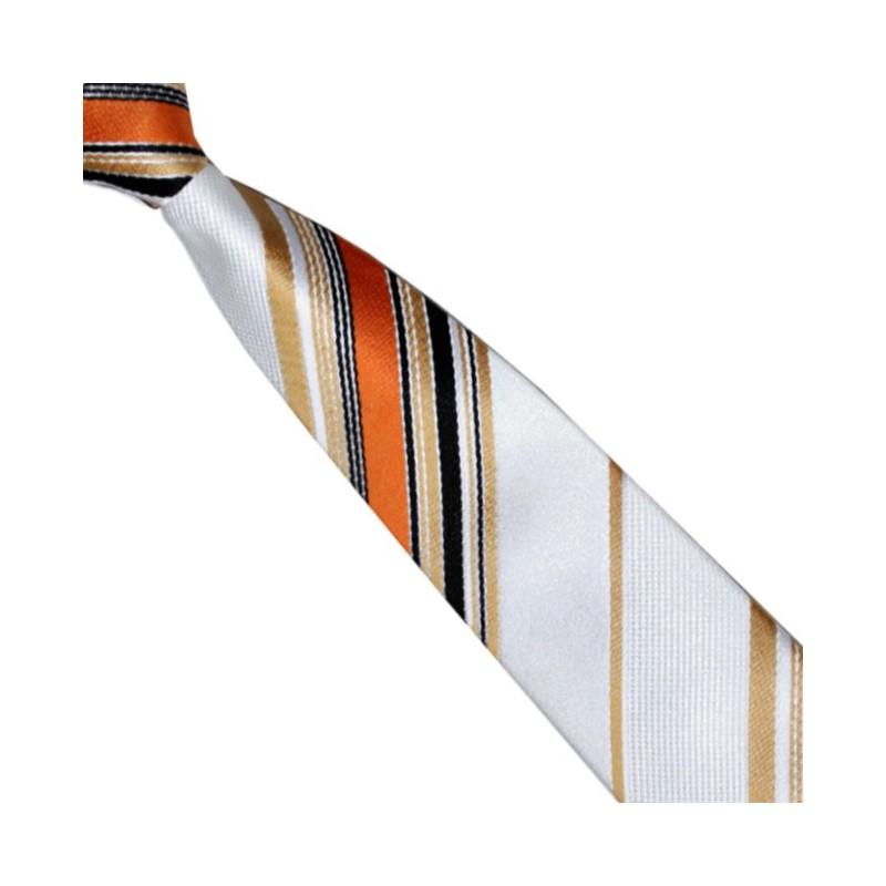 Detská kravata biela s oranžovými pruhmi