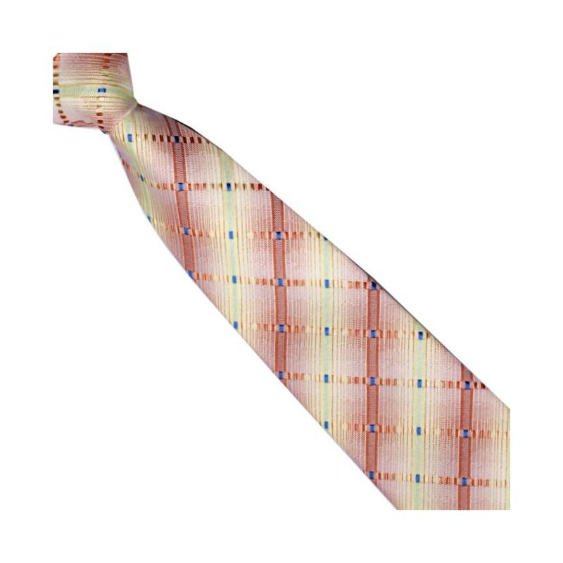 Junior kravata žltooranžová károvaná