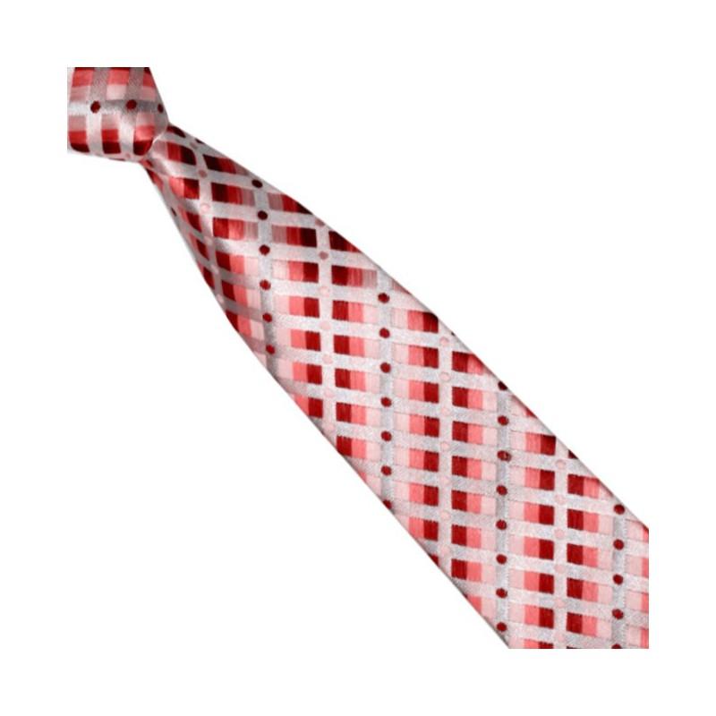 Detská kravata lososovo-korálová károvaná