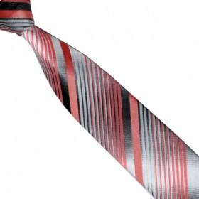 Detská kravata grafitová s lososovými prúžkami