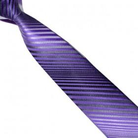 Detská kravata dúhovaná sivá s fialovými prúžkami