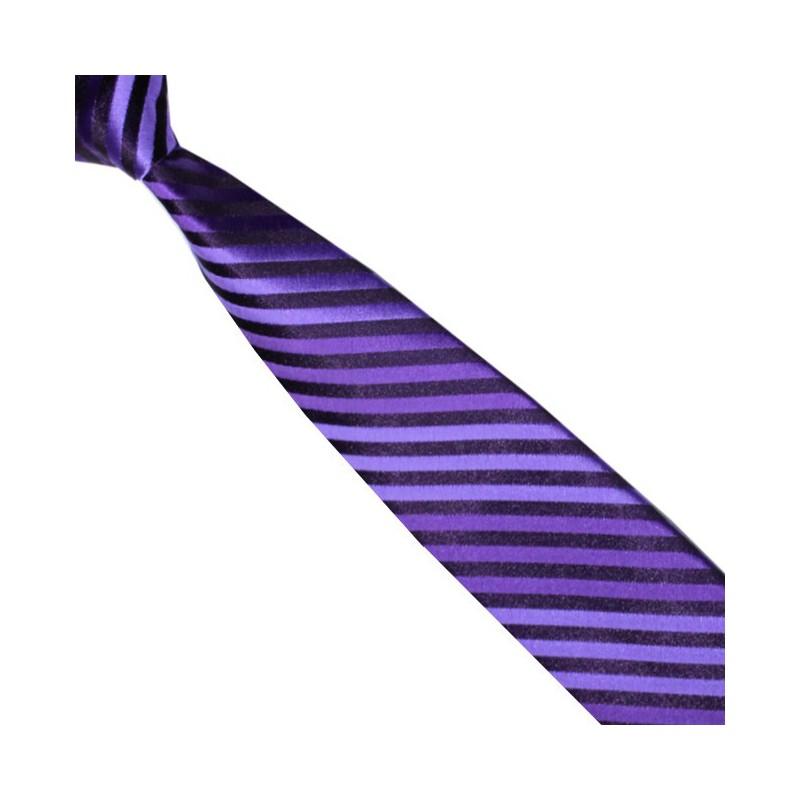 Detská kravata fialovo-čierna prúžkovaná