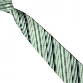 Detská kravata svetlozelená s čiernymi prúžkami