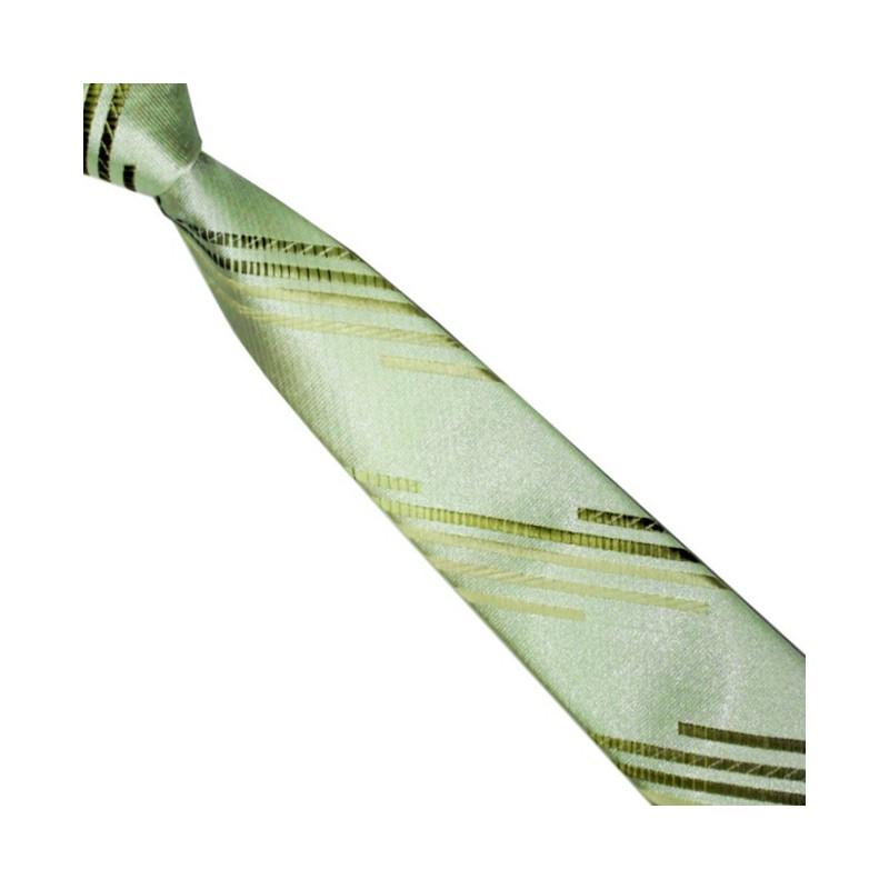 Detská kravata zelená s prúžkami rôznych odtieňov zelenej
