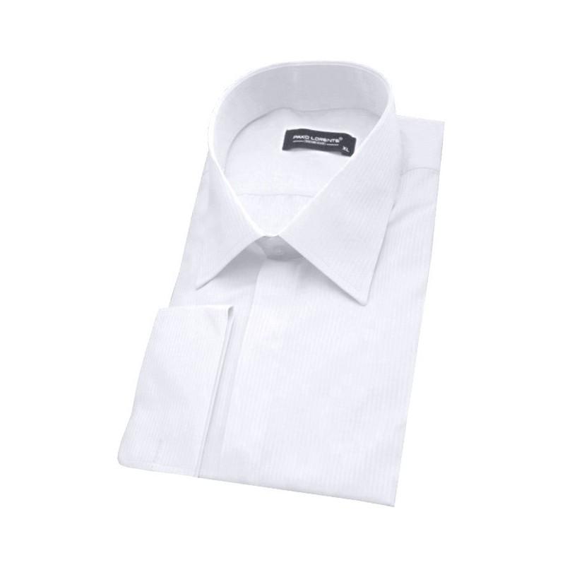 Košeľa slim fit biela prúžkovaná na manžetové gombíky