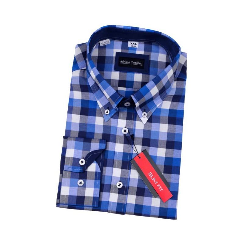 Košeľa slim fit károvaná modrá