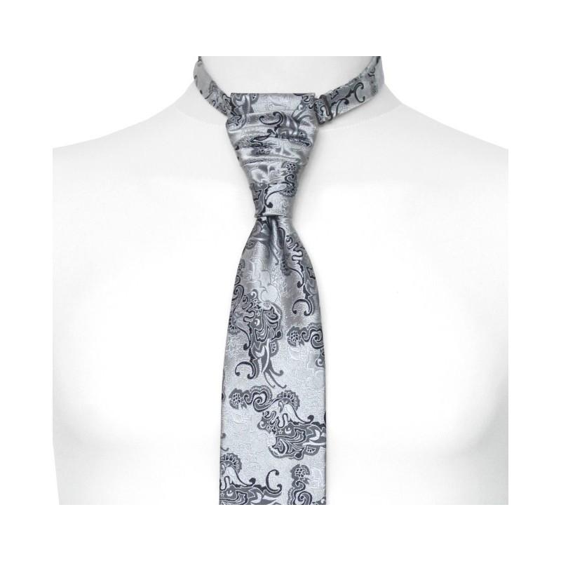 Francúzska kravata striebornosivá s čiernym a grafitovým kašmírovým vzorom