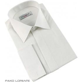 Prúžkovaná košeľa ivory slim fit na manžetové gombíky