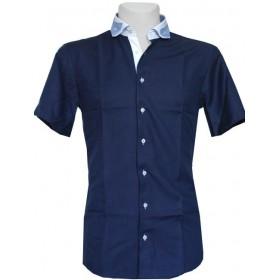 Košeľa s krátkym rukávom granátová oxford s prúžkovaným golierom