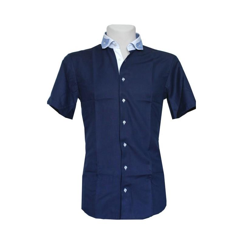 Košeľa s vyhnutým prúžkovaným golierom granátová oxford s modrou bodkovanou podšívkou