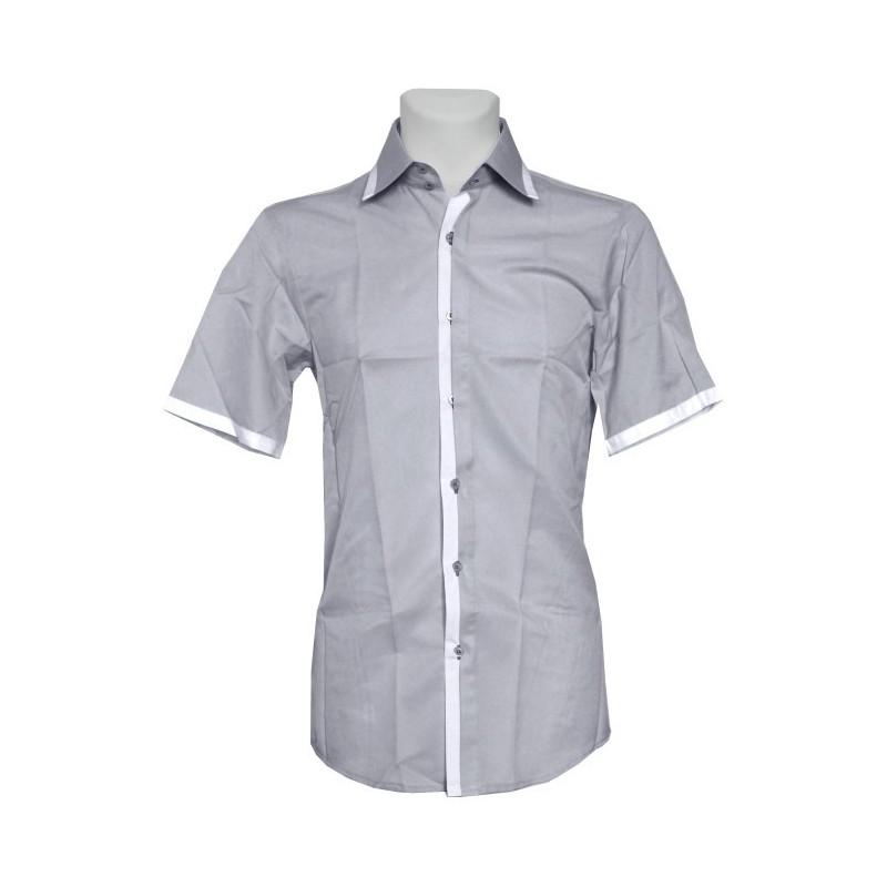 Košeľa s krátkym rukávom sivá s bielym lemom