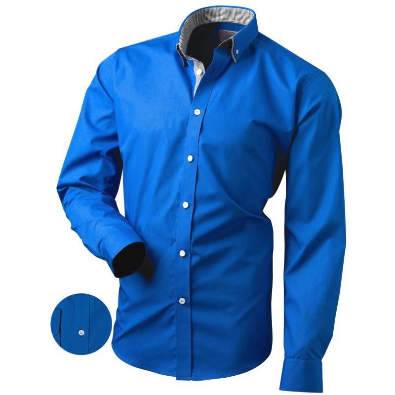 Modrá košeľa slim fit s kontrastnými gombíkmi a károvanou podšívkou